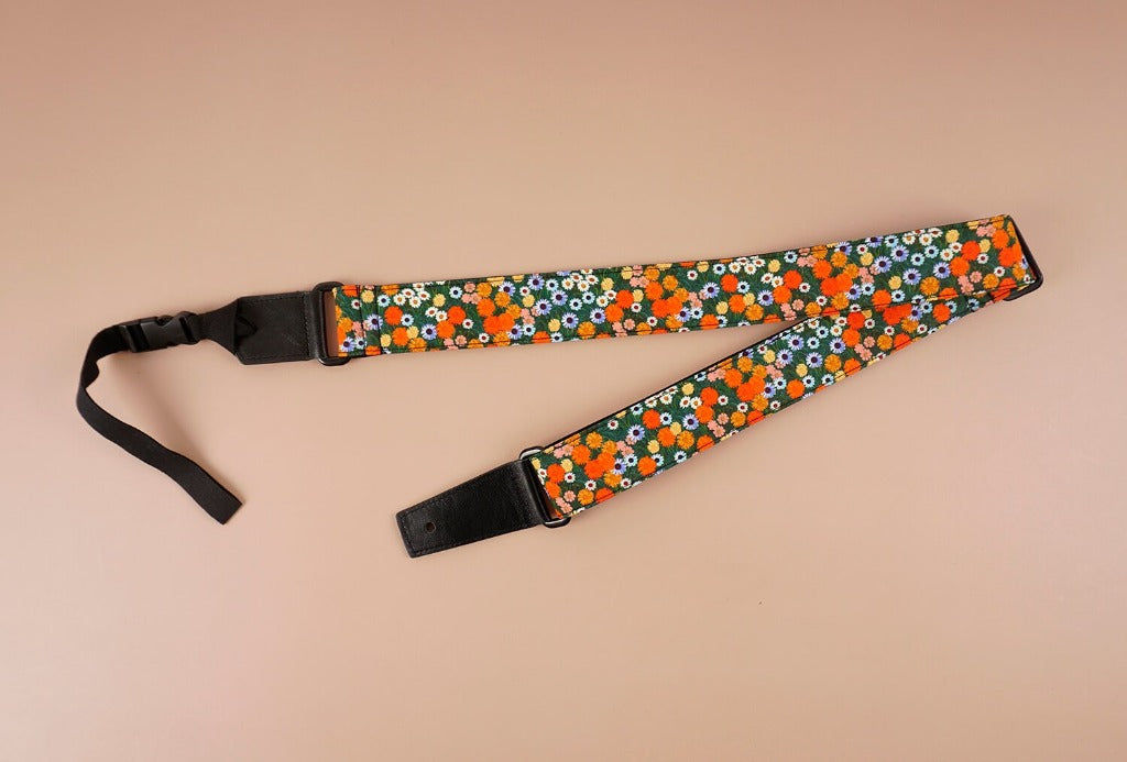 ukulele shoulder strap with red daisy floral printed-front-3
