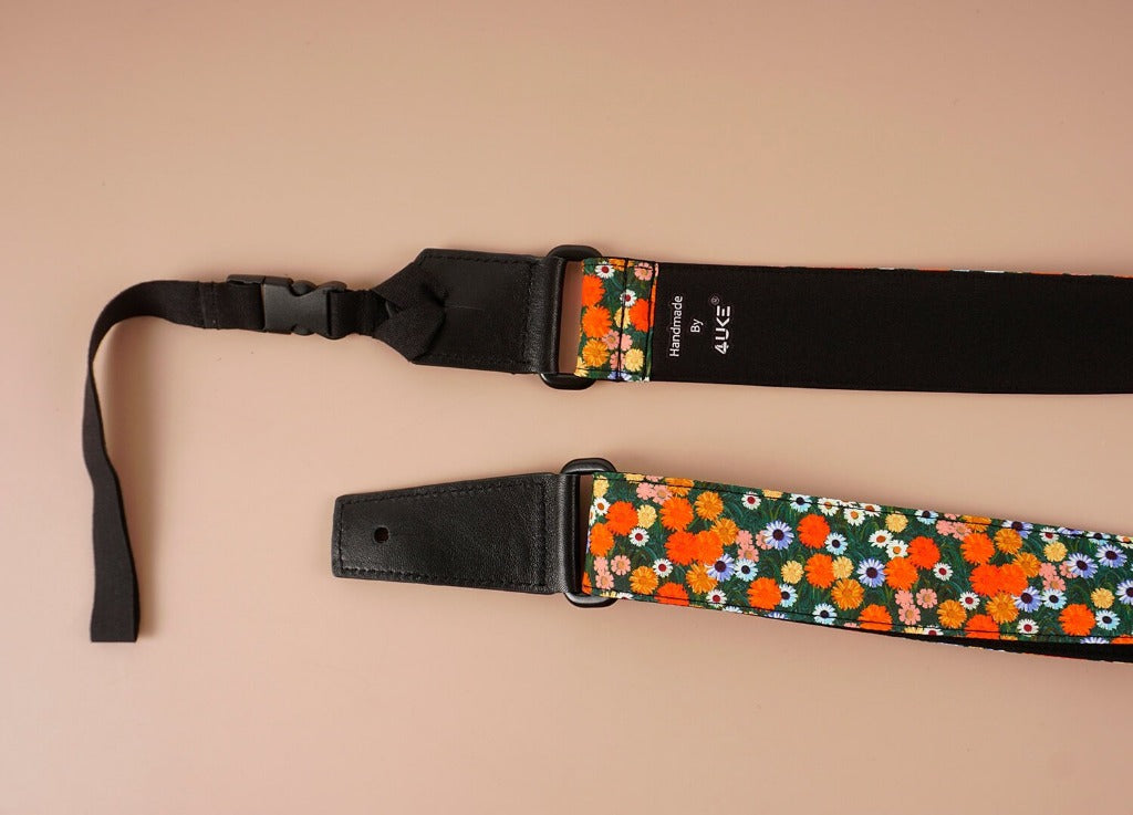 ukulele shoulder strap with red daisy floral printed-detail-2