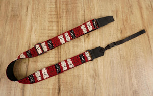 lucky cat leather ends ukulele shoulder strap-red-front