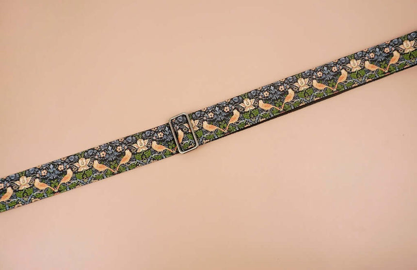 bird and flowers printed vintage guitar strap-detail-1