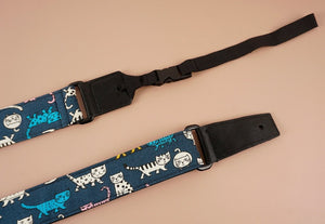 cartoon cat 3 leather ends ukulele shoulder strap-detail-1