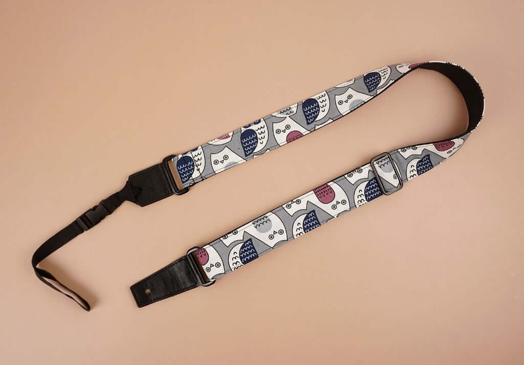 ukulele shoulder strap with cartoon owl printed-front-2