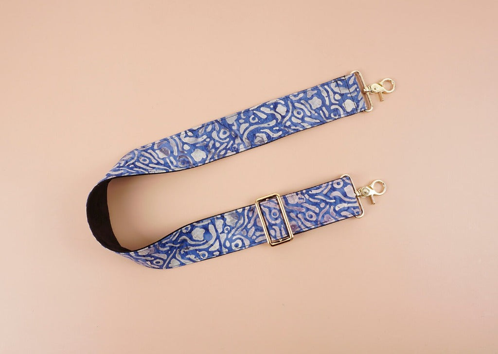Replacement shoulder guitar style bag strap with maze printed-front-2