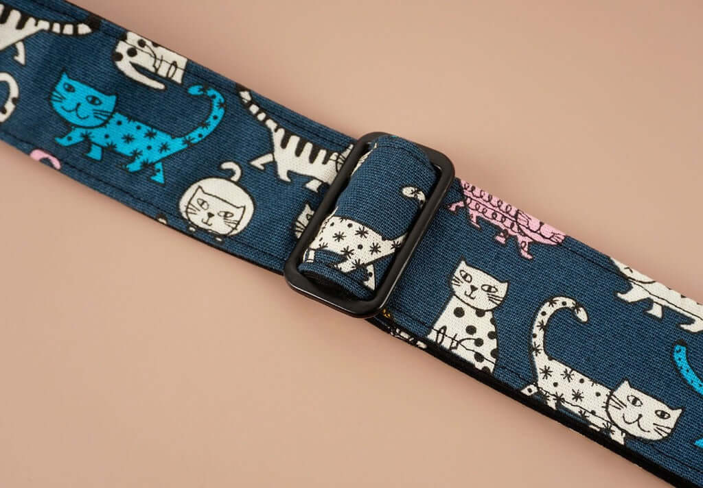 cartoon cat 3 leather ends ukulele shoulder strap-detail-2