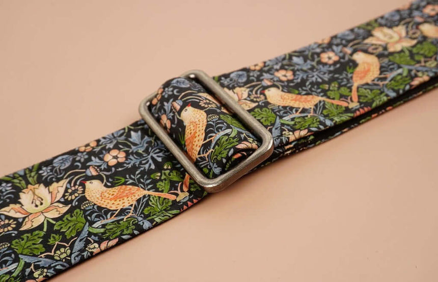 bird and flowers printed vintage guitar strap-detail-2