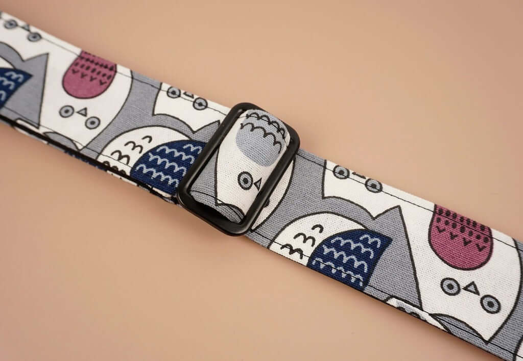 ukulele shoulder strap with cartoon owl printed-detail-1