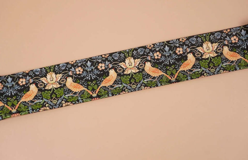 bird and flowers printed vintage guitar strap-detail-3