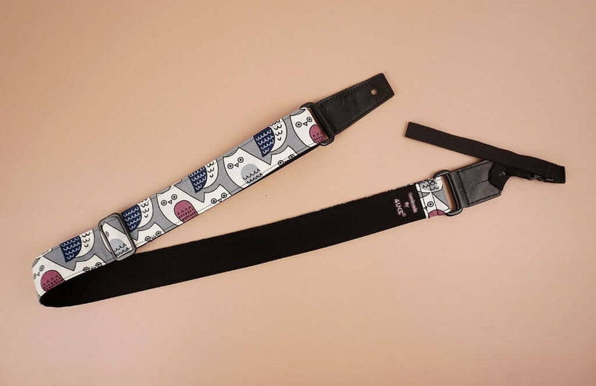 ukulele shoulder strap with cartoon owl printed-front-3