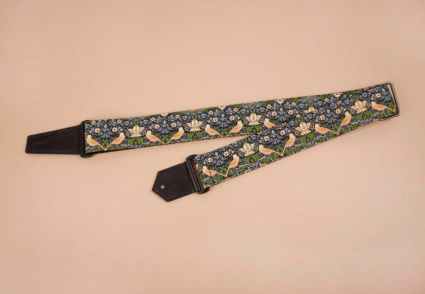 bird and flowers printed vintage guitar strap-front-2
