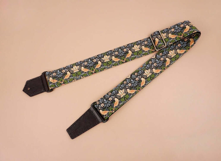 bird and flowers printed vintage guitar strap-front-3