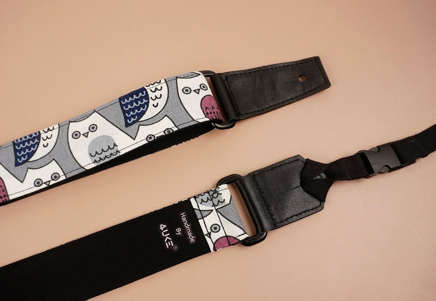 ukulele shoulder strap with cartoon owl printed-detail-3