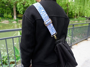 Replacement shoulder guitar style bag strap with maze printed-demonstration-2