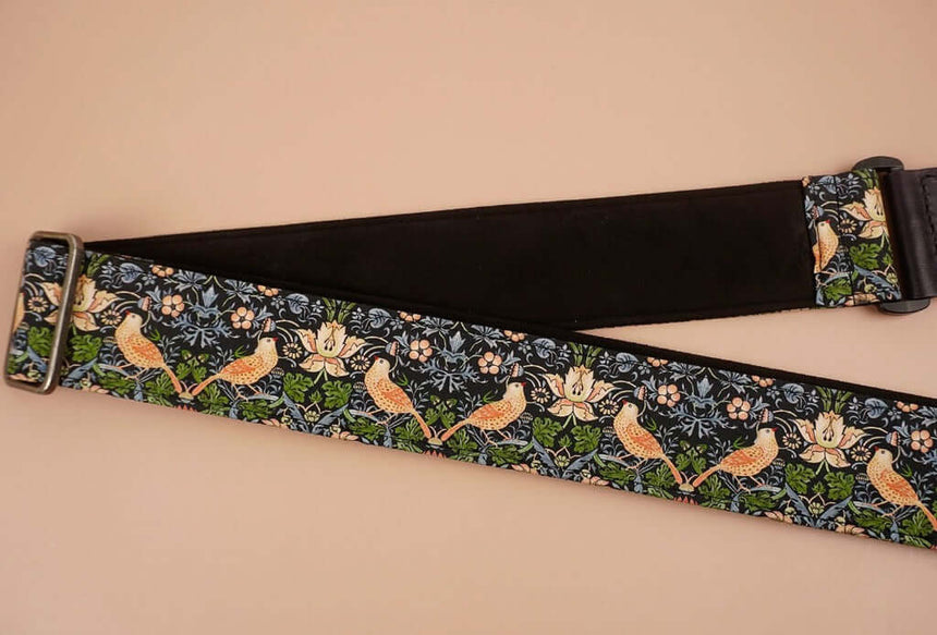 bird and flowers printed vintage guitar strap-detail-4