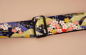 hill and sakura leather ends ukulele shoulder strap-detail-1