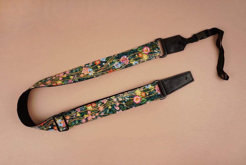 ukulele shoulder strap with flowers garden printed-front-1