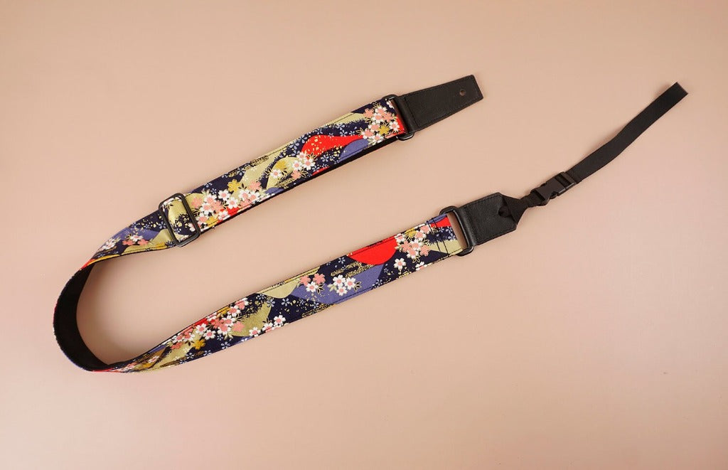 hill and sakura leather ends ukulele shoulder strap-front-3