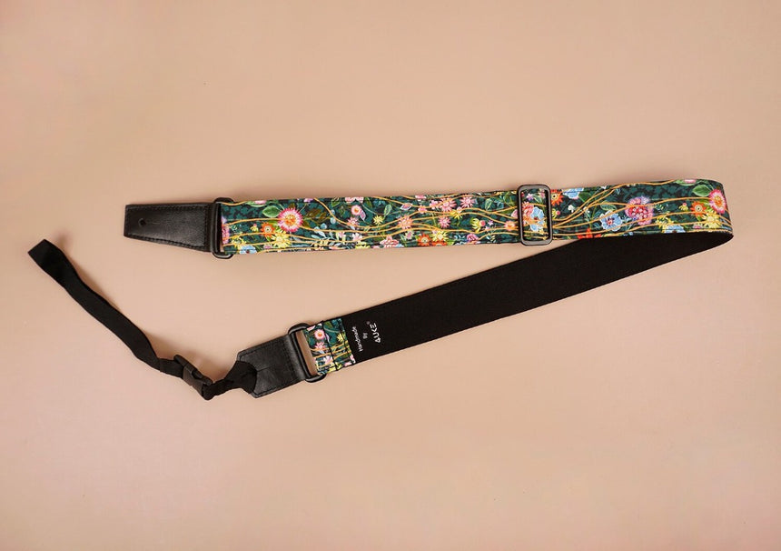 ukulele shoulder strap with flowers garden printed-front-2
