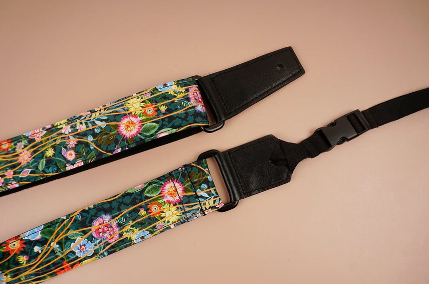 ukulele shoulder strap with flowers garden printed-detail-2