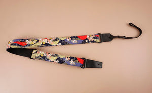 hill and sakura leather ends ukulele shoulder strap-front-4