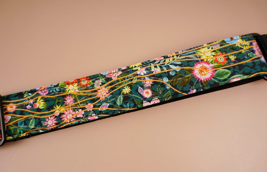 ukulele shoulder strap with flowers garden printed-detail-3
