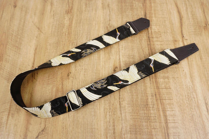 4uke guitar strap with red-crowned crane printed-front