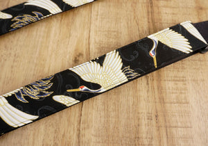 4uke guitar strap with red-crowned crane printed-detail-1