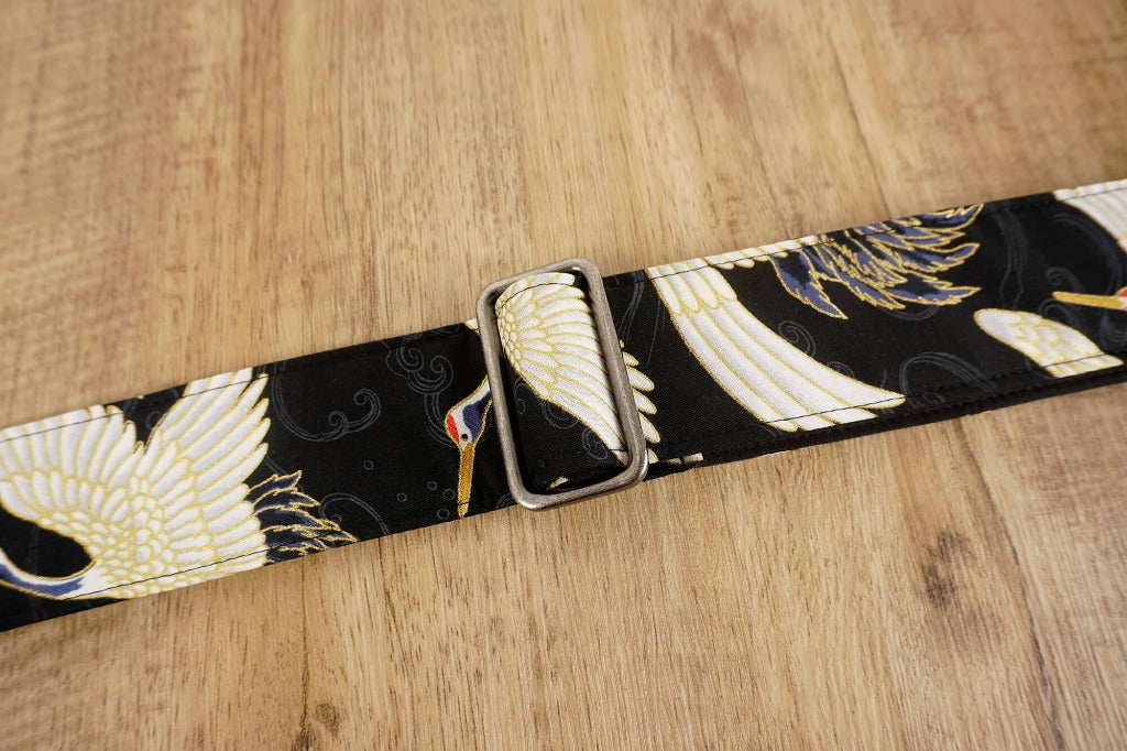 4uke guitar strap with red-crowned crane printed-detail-2