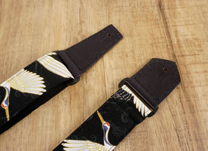 4uke guitar strap with red-crowned crane printed-leather ends