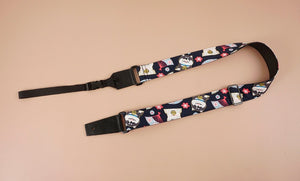 cute dog 1 leather ends ukulele shoulder strap-front-1