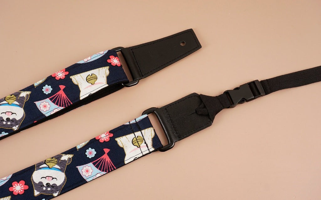 cute dog 1 leather ends ukulele shoulder strap-detail-2
