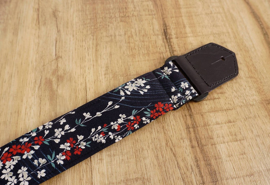 Weeping Cherry blossom guitar strap with leather ends-3