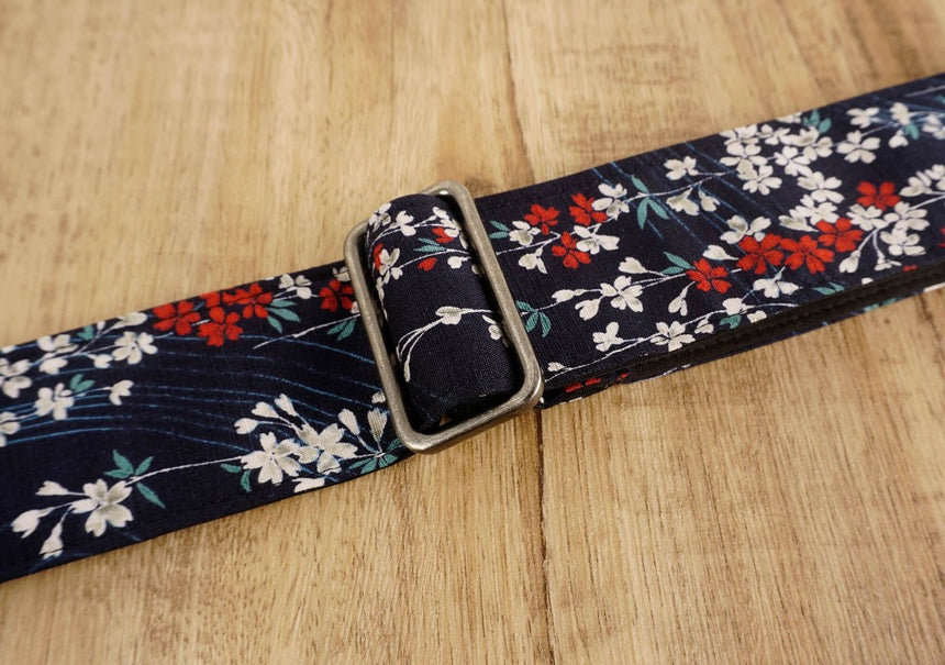 Weeping Cherry blossom guitar strap with leather ends-4