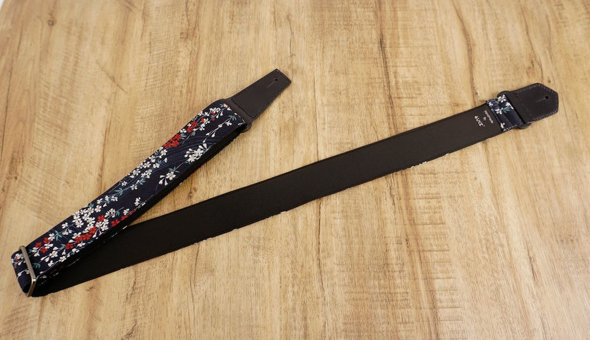 Weeping Cherry blossom guitar strap with leather ends-6