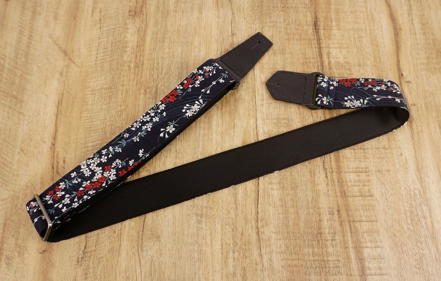 Weeping Cherry blossom guitar strap with leather ends-7