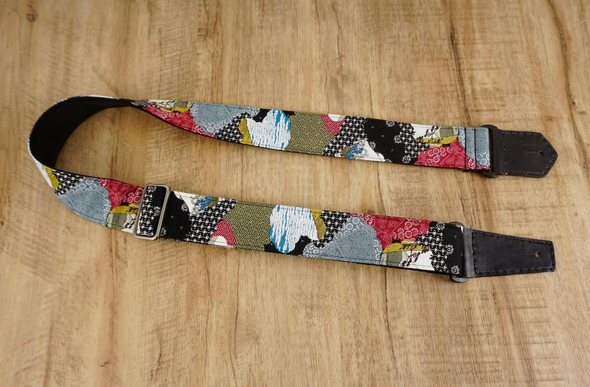 Japanese culture guitar strap with leather ends-1