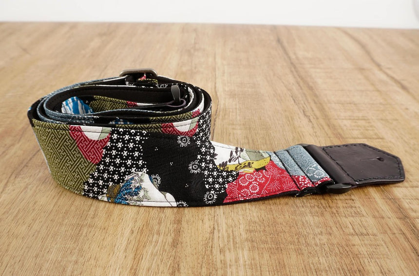 Japanese culture guitar strap with leather ends-3