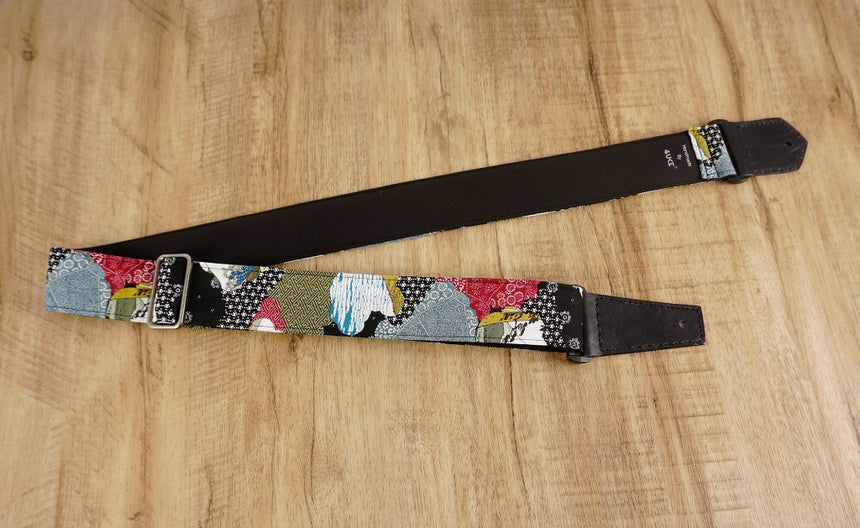 Japanese culture guitar strap with leather ends-4