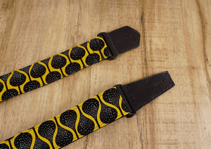 4uke guitar strap with yellow queen printed-leather ends