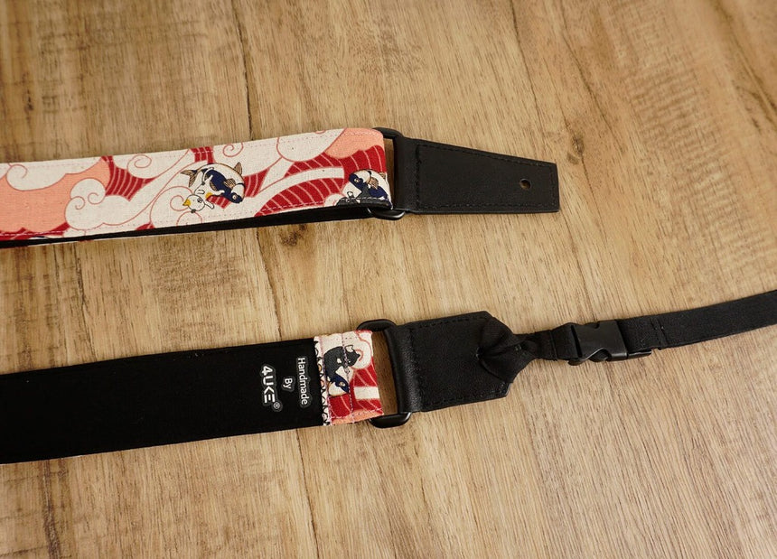 Surfing cat leather ends ukulele shoulder strap-detail-2