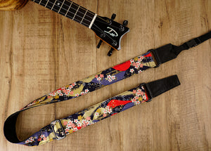 hill and sakura leather ends ukulele shoulder strap-front-2