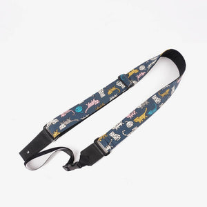 cartoon cat 3 leather ends ukulele shoulder strap-front-1