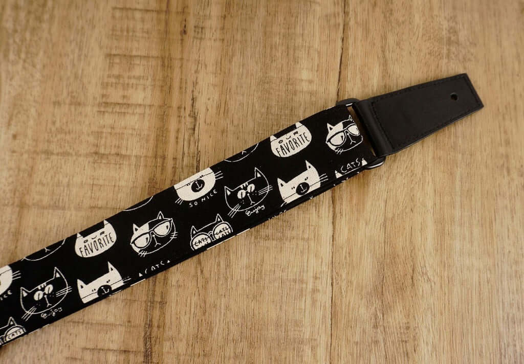 cartoon cat 2 leather ends ukulele shoulder strap-detail-2