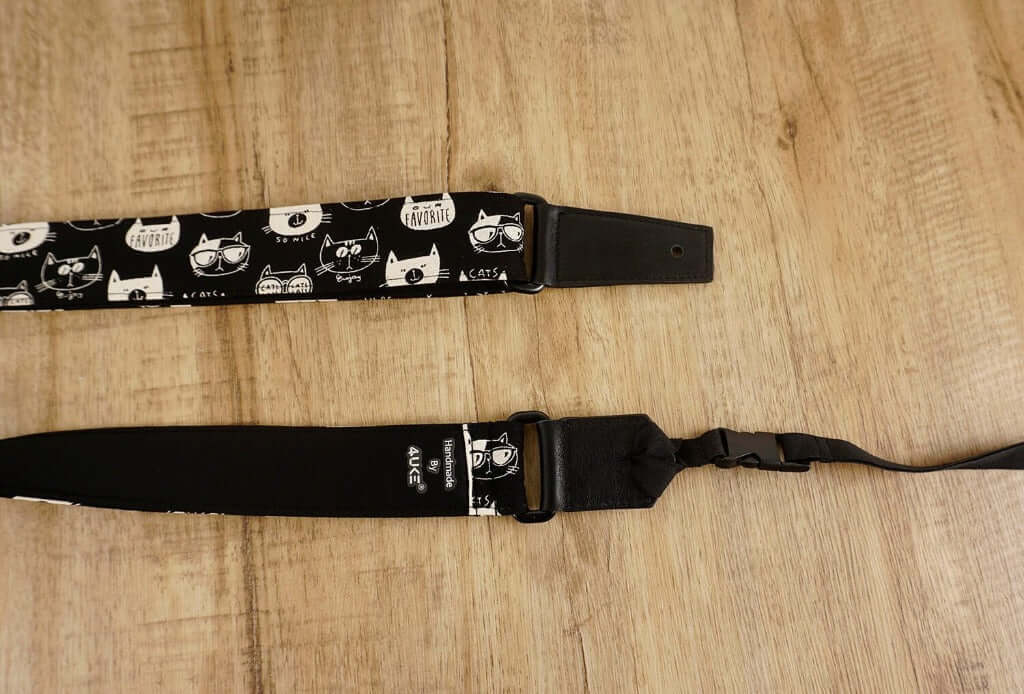 cartoon cat 2 leather ends ukulele shoulder strap-detail-3