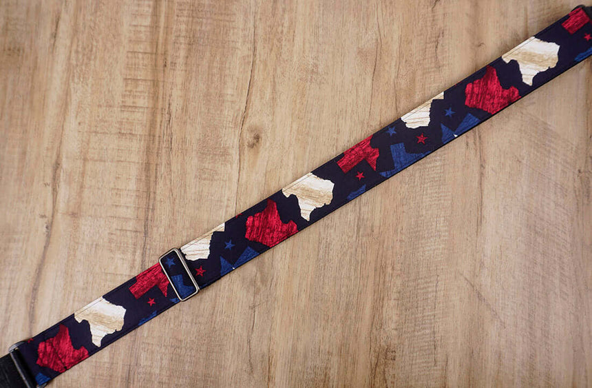 American flag guitar strap with leather ends - 5