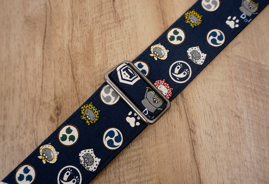 Anime cat design on blue guitar strap with leather ends-6