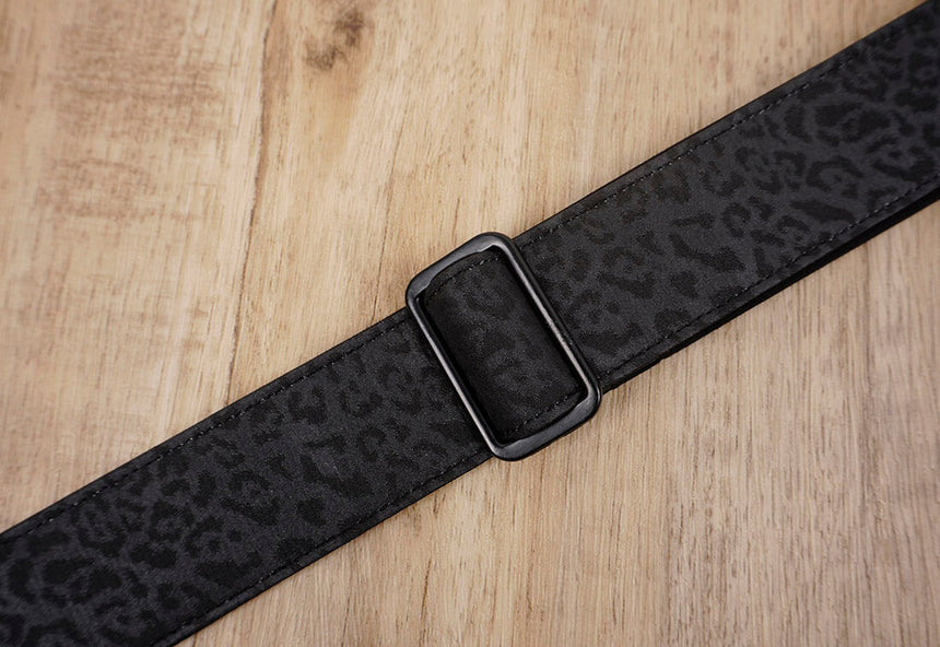 black leopard print ukulele hook strap no drilling, no button - 4