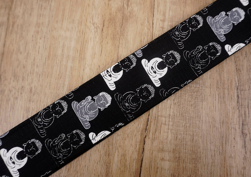 Buddha guitar strap with leather ends-6