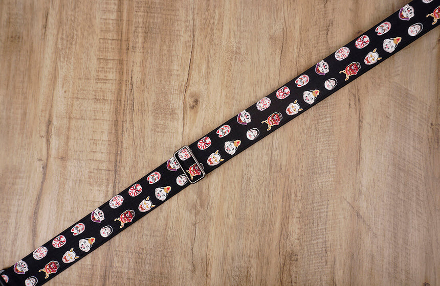 Japanese Daruma Devil guitar strap with leather ends-4