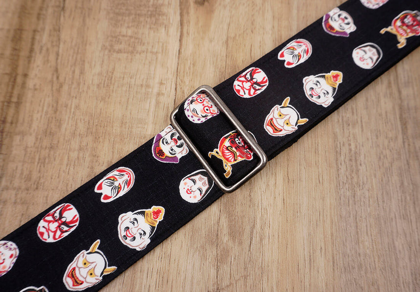 Japanese Daruma Devil guitar strap with leather ends-6