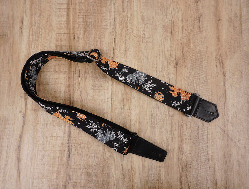 qilin and sakura guitar strap with leather ends-3